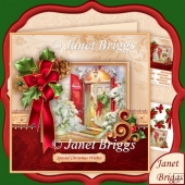 Holly Ribbon & Christmas Doorway 7.8 Decoupage Kit