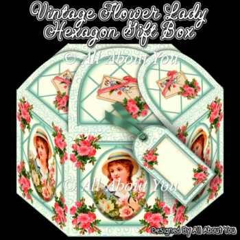 Vintage Flower Lady Hexagon Gift Box