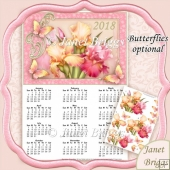 IRISES 2018 A4 USA Calendar with Decoupage Mini Kit