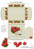 Christmas Gift Box - Poinsettias & Candles