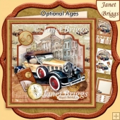 RETRO CAR GOLD 8x8 Decoupage & Insert Kit Various Occasions