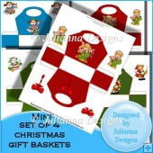 Set of 4 Mini Christmas Gift Baskets