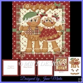 CHRISTMAS GINGERBREAD COUPLE CARD KIT WITH INSERTS