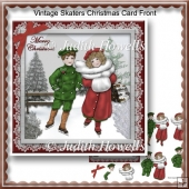 Vintage Skaters Christmas Card Front