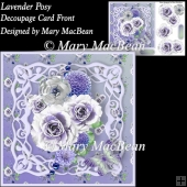 Lavender Posy Decoupage Card Front