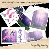 Orchids & Butterflies Easel Card Kit with Matching Envelope