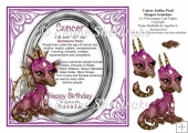 8 x 8 Cancer Zodiac Birthday Gemstone Dragon Topper & Decoupage