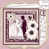WEDDING BRIDE & GROOM Dusty Rose & Champagne Decoupage & Insert
