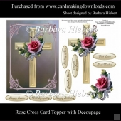 Rose Cross Card Topper with Decoupage