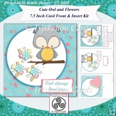 Cute Owl 7.5 Inch Card Front and Insert Kit & Extra Sentiments