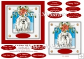 Christmas Puppy Dog (4) 6 x 6 Card Topper With Lots Of Greetings