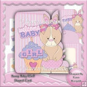 Bunny Baby (Girl) Shaped Card