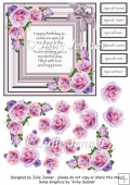 Rose Frame with verse and decoupage A4 sheet with decoupage