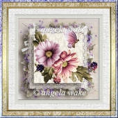 Lilac and pink dahlias 7x7 card with decoupage