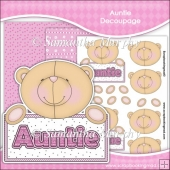 Cute Auntie Decoupage Sheet & 2 Backing Papers
