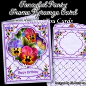 Fanciful Pansy Frame Pyramage Card