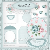 Blue rose oval easel card set