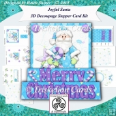 Joyful Santa 3D Decoupage Stepper Card Kit & Envelope