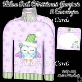 Lilac Owl Christmas Jumper Card & Envelope