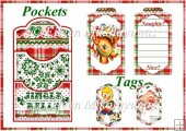 Retro Christmas Double Pocket Library Card and Tags Set