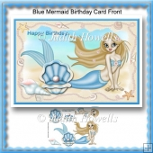 Blue Mermaid Birthday Card Front