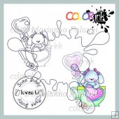 Lollipop cup bunny and sentiment Digi stamp