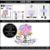 Birth Flowers and Gems April: BW Tea Cup Cradle Card Set