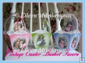 Vintage Easter Basket Party Favor Baskets and Tags