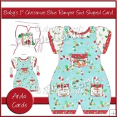Baby's 1st Christmas Blue Romper Suit Shaped Card