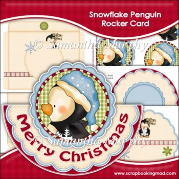 Snowflake Penguin Rocker Card Download