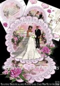 Beautiful Ethnic Bride & Groom Scalloped Round Easel Card