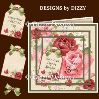 Floral Layered Card Front with Inserts