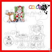 Santa With Cookies and Milk Plus a Sentiment Digital Stamp
