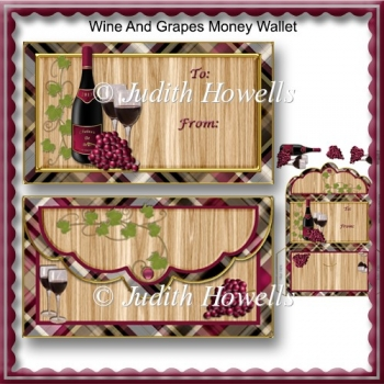 Wine And Grapes Money Wallet