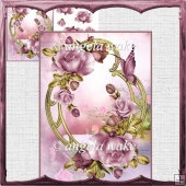 Rose garden card with decoupage