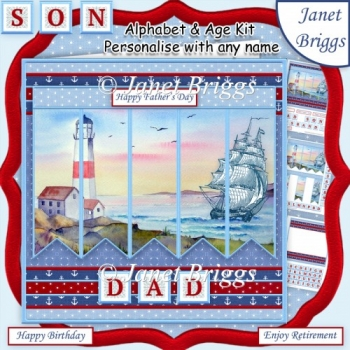 SAILING SHIP 7.5 Alphabet and Age Quick Card Kit Create Any Name