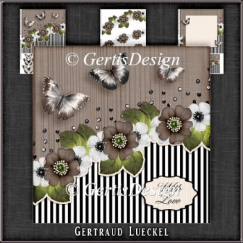 Vintage Stripes and Flowers Card Kit brown 1124
