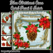Blue Christmas Cone Card Front & Insert