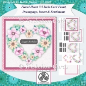 Floral Heart 7.5 Card Front, Decoupage, Insert, Sentiments no.8
