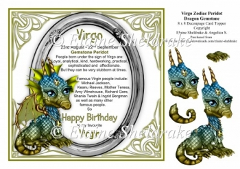 8 x 8 Virgo Zodiac Birthday Gemstone Dragon Decoupage Topper