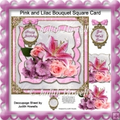 Pink and Lilac Bouquet Square Card Front