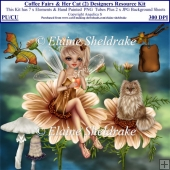 Coffee Fairy & Her Cat (2) Designers Resource Kit For CU/PU