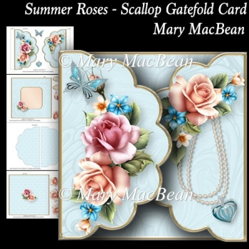 Summer Roses - Scallop Gatefold Card