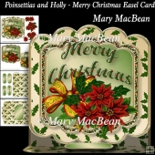 Poinsettias and Holly - Merry Christmas Easel Card