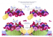 Easter Chicks & Anemones In A Basket Cut & Fold Decoupage Card