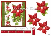 Red poinsettia and bells 6x6 card