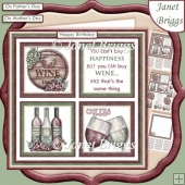 WINE HAPPINESS Humorous 7.5 Quick Card Decoupage & Insert Kit
