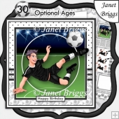 FOOTBALL STRIKER 7.5 Black & White Soccer Decoupage Ages