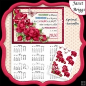 DEEP PINK ROSES 2020 A4 Calendar with Decoupage Mini Kit