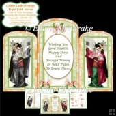Triple Fold Geisha Lady Orange Screen - Card Kit With Decoupage